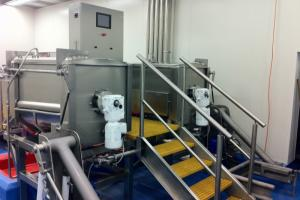 Twin 600L steam fired Agitated Kettles with bin lifters